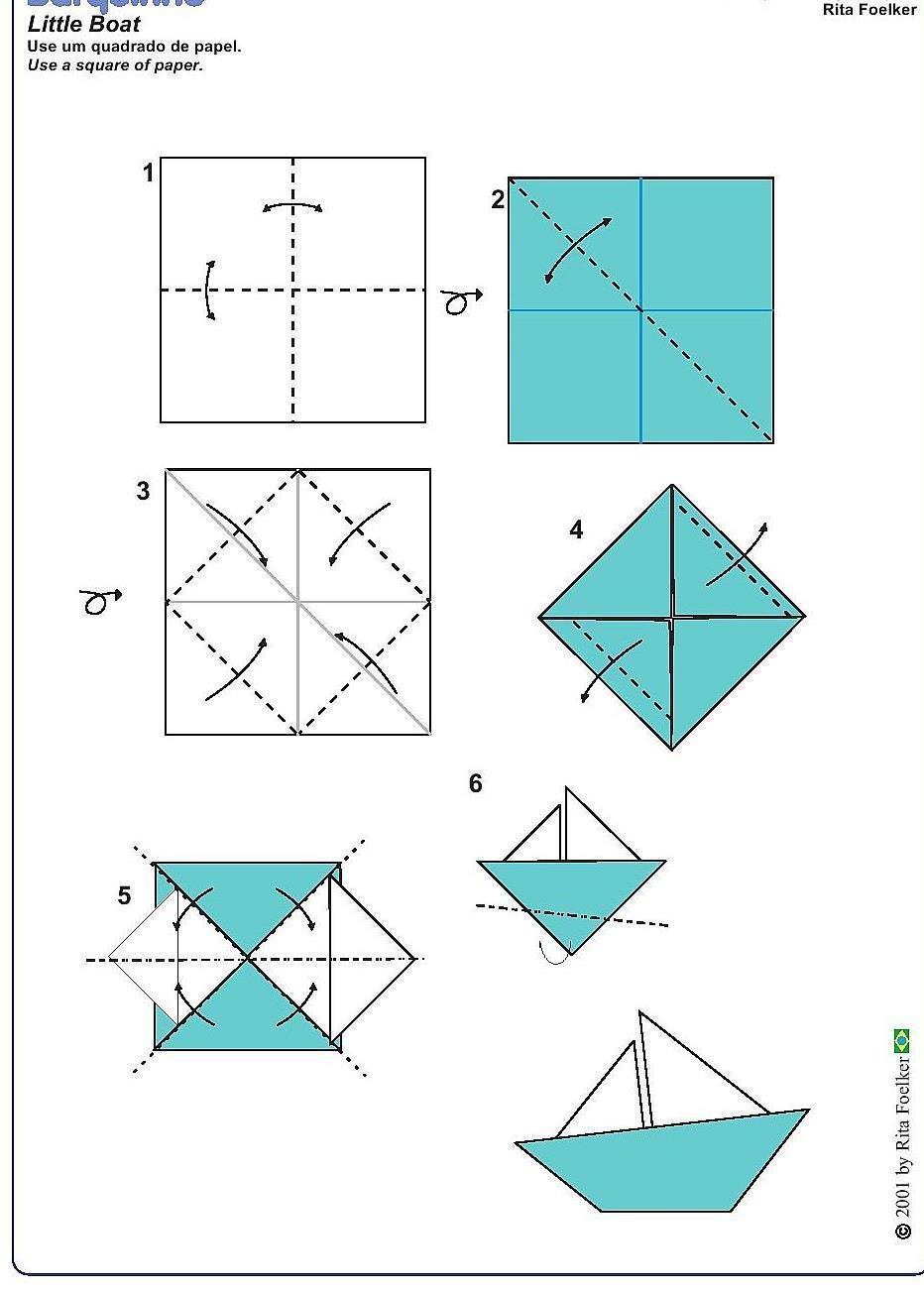 儿童简易小纸船的折纸方法图解╭