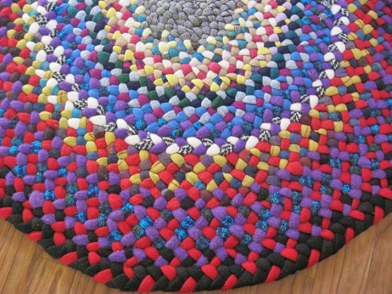 "New Ready To Ship 31"" Braided Wool Round Braided Rug in Crimson Red and Plush Purple from vintage wool"