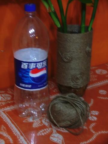 可乐瓶做花瓶_麻绳和可乐瓶做花瓶 饮料瓶自制花瓶DIY图解╭★肉丁网