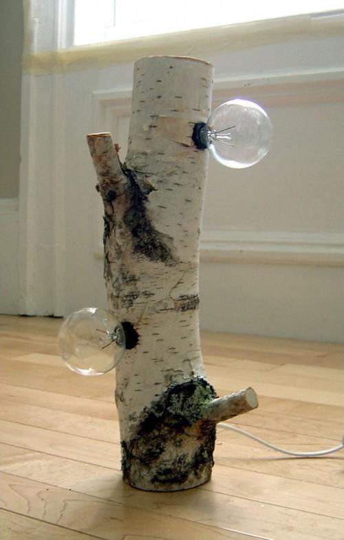 用桦木树枝创意制作的可爱小台灯图片教程╭★肉丁网