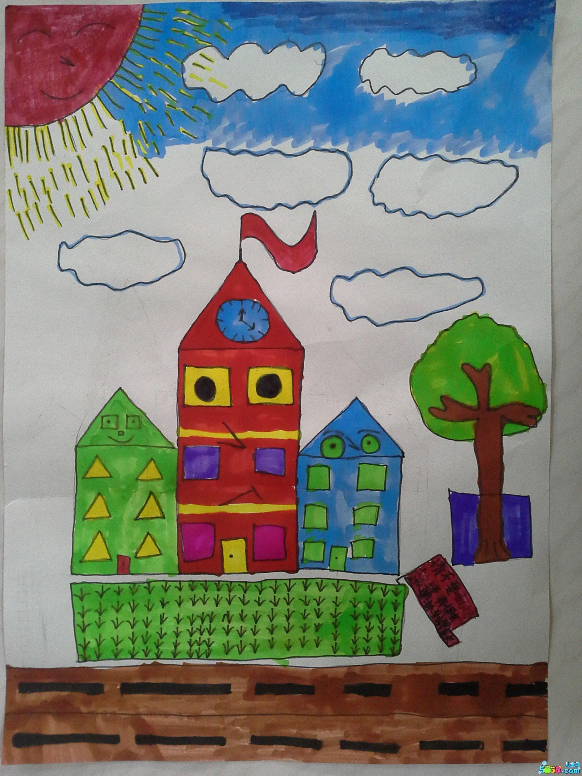 幼儿简易图画大全_简单儿童画画水彩画作品图片欣赏大全《安静的教堂》 肉丁儿童网