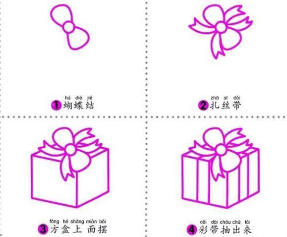 幼儿简笔画教程圣诞节礼盒的简单画法图解 肉丁儿童网