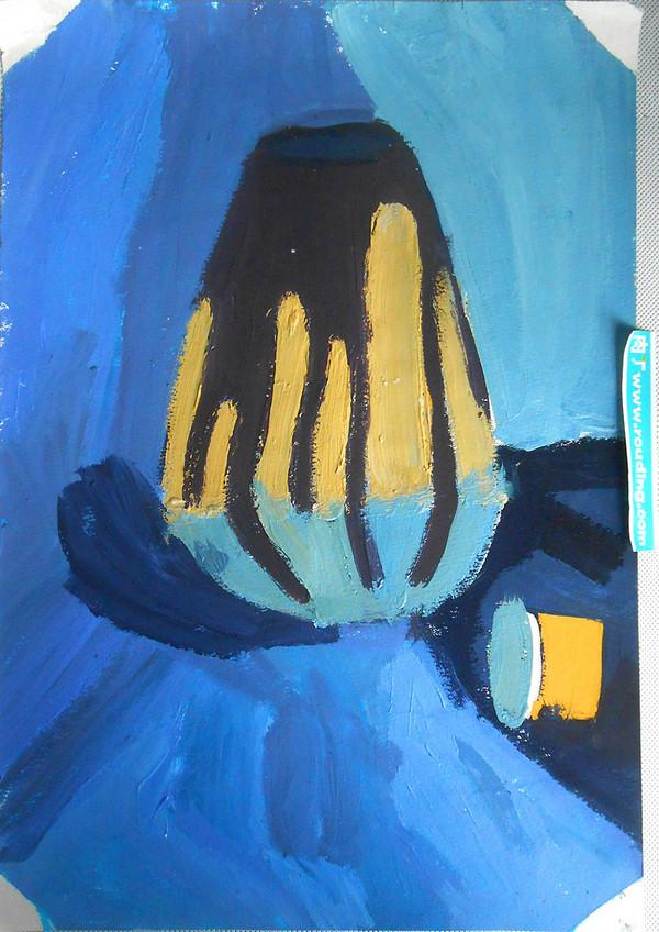 小学生水粉画教案_小学生画画图片大全 花瓶和布水粉画静物写生 肉丁儿童网