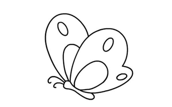 儿童简笔画大全图片之蝴蝶的绘画步骤分解教程 肉丁儿童网