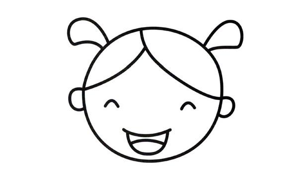儿童简笔画小女孩笑脸的画法图解教程 肉丁儿童网