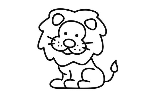 可爱小狮子简笔画_儿童简笔画涂色 可爱小狮子的画法图解教程 肉丁儿童网