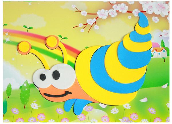 用海绵纸制作动物的图片_用彩色海绵纸制作的可爱小动物的粘贴画作品图片展示 肉丁儿童网