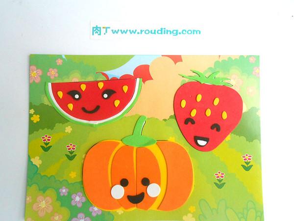 吸粘贴画怎么做_教你制作简单的儿童手工DIY立体粘贴画水果的方法肉丁儿童网