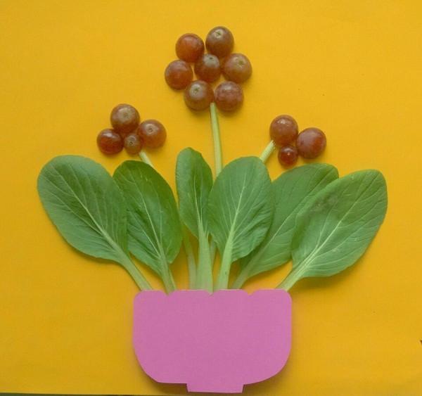 水果蔬菜创意制作_教你用水果和蔬菜来制作美丽的一盆花拼贴画 肉丁儿童网