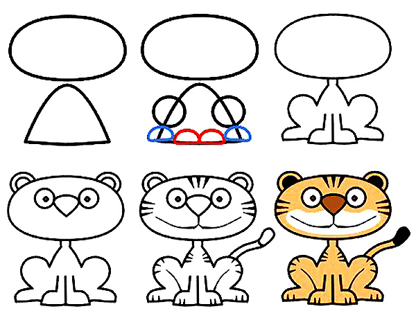 森林之王 老虎简笔画的绘画步骤图幼儿DIY卡通画 肉丁儿童网