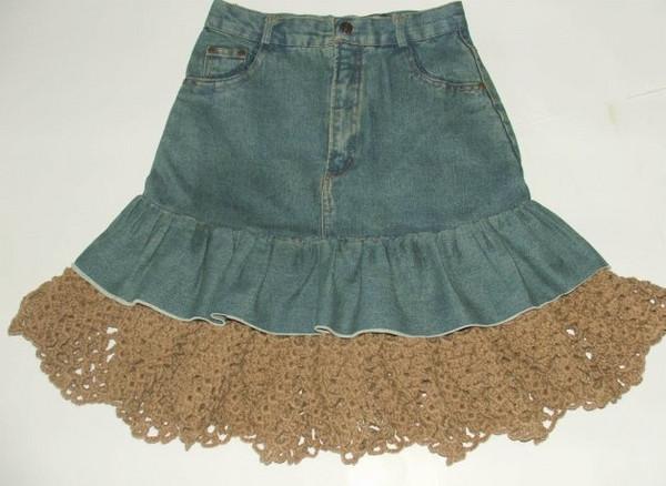 牛仔裤改造牛仔裙_两款旧牛仔裤巧变牛仔裙做法详细DIY步骤图解╭★肉丁网