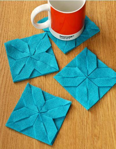 丝带花结_手工制作几何图形不织布杯垫图解╭★肉丁网