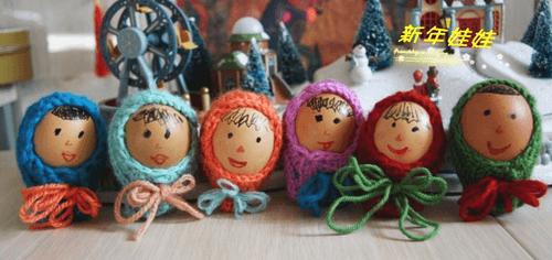 鸡蛋创意画_亲子玩具DIY 用鸡蛋壳手绘的可爱小娃娃 肉丁儿童网