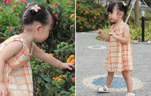 宝宝长洋装改造:变身小短裙+小花发束的做法