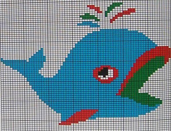 毛衣绣花花样_儿童毛衣编织花样图 可爱的小海豚和小鲸鱼花样╭★肉丁网