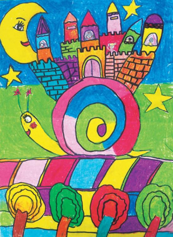 小学生水粉画教案_水粉画儿童画画图片作品欣赏《蜗牛的小房子》 肉丁儿童网